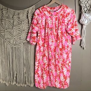 Vintage terry cloth floral button up robe/dress OS